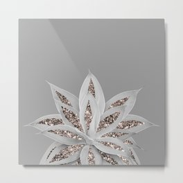 Gray Agave with Rose Gold Glitter #1 #shiny #tropical #decor #art #society6 Metal Print