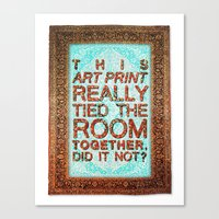 lebowski Canvas Prints featuring Lebowski Rug by Flequillo