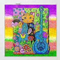 hippy Canvas Prints featuring Hippy Puss by SwanniePhotoArt