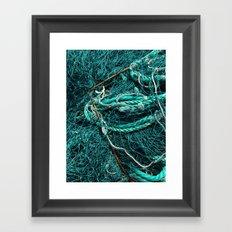 Teal Nautical Rope Framed Art Print
