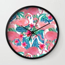 Tropical Flamingo Watercolor Floral Wall Clock