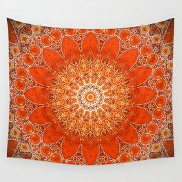 Detailed Orange Boho Mandala Wall Tapestry