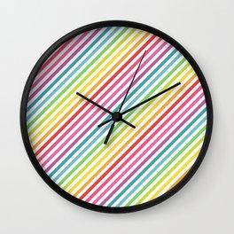 Rainbow Geometric Striped Pattern Wall Clock