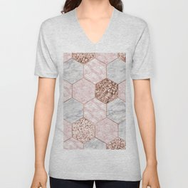 Rose gold dreaming - marble hexagons Unisex V-Neck