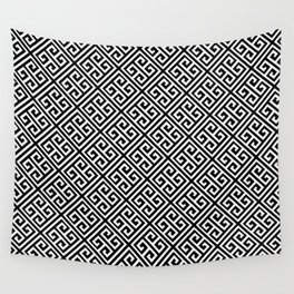 Black & White Greek Key Pattern Wall Tapestry