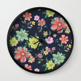 Dramatic Floral Pattern Wall Clock