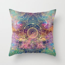Gold watercolor and nebula mandala Throw Pillow