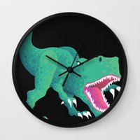dinosaur Wall Clocks featuring Dinosaur by Flame