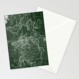 World Map (1778) Green & White Stationery Cards