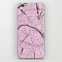 Paris France Minimal Street Map - Pretty Pink on Black iPhone Skin