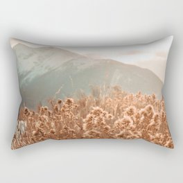 Golden Wheat Mountain // Yellow Heads of Grain Blurry Scenic Peak Rectangular Pillow