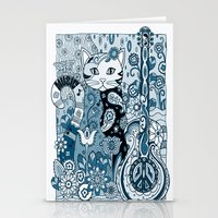 hippy Stationery Cards featuring Hippy Puss by SwanniePhotoArt