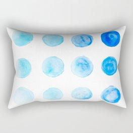 Calming Blue Watercolor Circles Rectangular Pillow