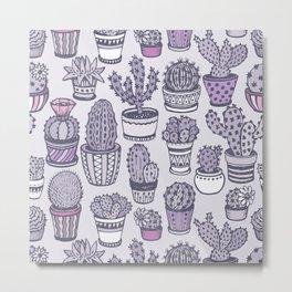 hand drawn cactus pattern Metal Print