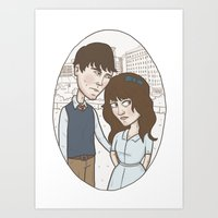 500 days of summer Art Prints featuring 500 days of summer portrait. by Nic Lawson