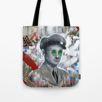 soldier Tote Bags featuring The Forgotten Soldier by FAMOUS WHEN DEAD