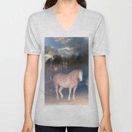 Belgian Horse Abstract Art Belgian Draft  Unisex V-Neck