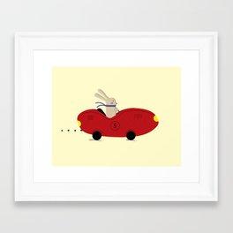 Rabbit and his car Framed Art Print