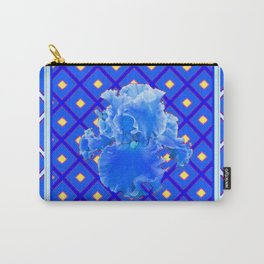 Blue Pattern Baby Blue Iris Art Yellow Checks Carry-All Pouch