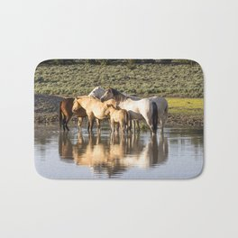 Reflection of a Mustang Family Bath Mat