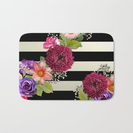 Horizontal Stripes & Flowers Abstract Bath Mat