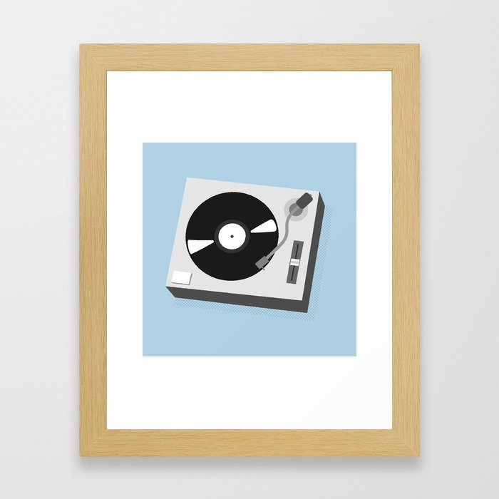 Turntable Illustration Framed Art Print