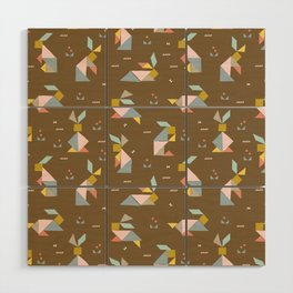 Tangram Bunnies M+M Nutmeg by Friztin Wood Wall Art