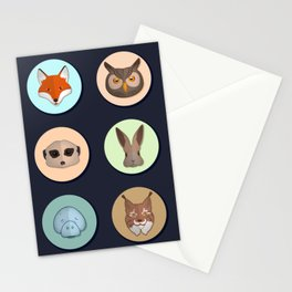 Vector animals in circles Stationery Cards