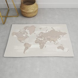 Distressed world map, taupe Rug