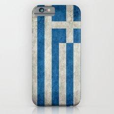 Greek flag in retro grunge Slim Case iPhone 6s