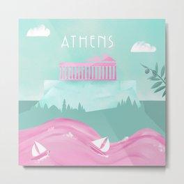 Cities in Pink - Athens Metal Print