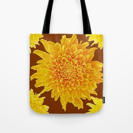 Coffee Brown Color Golden Yellow Chrysanthemums Tote Bag