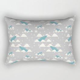 narwhal in ocean grey Rectangular Pillow