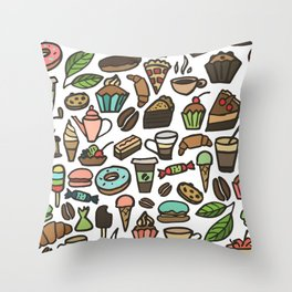 Coffee and pastry. Throw Pillow