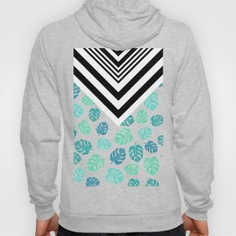 Modern tropical leaf monstera turquoise mint black white chevron Hoody
