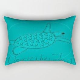 Wear the Teal Ovarian Cancer Awareness Sea Turtle Rectangular Pillow