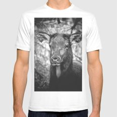 ADORABELK - portrait of a lowland elk nature wild black and white funny animals deer love Mens Fitted Tee MEDIUM White