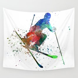 woman skier freestyler jumping Wall Tapestry