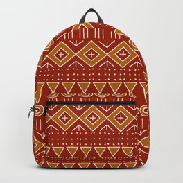 Mudcloth Style 2 in Red and Orange Backpack