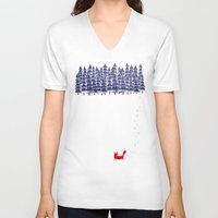 jazzberry blue V-neck T-shirts featuring Alone in the forest by Robert Farkas