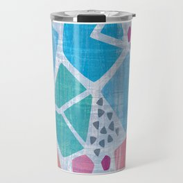 Abstract pattern in blue, pink and green pastel colors Travel Mug