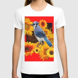 RED SUNFLOWERS  & BLUE JAY ART T-shirt