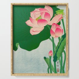 Ohara Koson Flowering Lotus 1930s Japanese Woodblock Print Vintage Historical Japanese Art Serving Tray