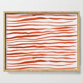 Irregular watercolor lines - orange Serving Tray