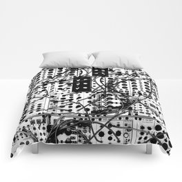 analog synthesizer system - modular black and white Comforters