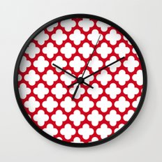 red and white Wall Clock