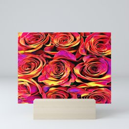 Scarlet Golden Roses Mini Art Print