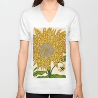 georgia V-neck T-shirts featuring Georgia Sunflower by valerie lorimer
