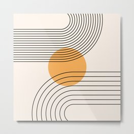 Geometric Lines in Black and Beige 28 (Rainbow and Sun Abstraction) Metal Print