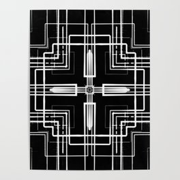 Black and White Multi-lines Poster